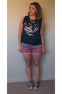 Black-owl-forever-21-shirt-pink-studded-diy-shorts-black-converse-sneakers