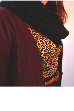 maroon long joe fresh style cardigan - tan leopard print H&M cardigan