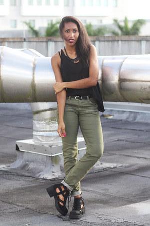 dark khaki cargo pants c-o H&M pants - black Jeffrey Campbell boots