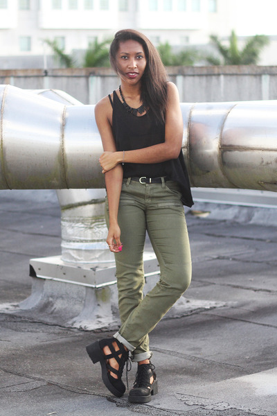 black top khaki pants - Pi Pants
