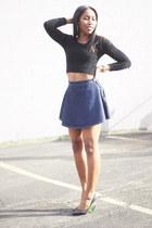 black c-o American Apparel sweater - blue American Apparel skirt