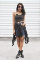 black may Miista boots - navy denim skirt American Apparel shirt