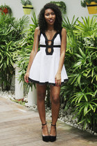 white forget me not Love Cat dress - white Nasty Gal bag