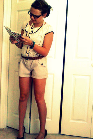 beige H&M shirt - beige Grass Jeans shorts - black Pulse shoes - brown Forever 2