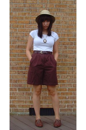 brown shorts - white H&M shirt - brown Steve Madden shoes - yellow hat - beige n