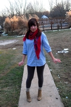 blue H&M shirt - red Target scarf - gray Walmart leggings - yellow H&M socks - b