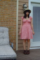 yellow hat - pink Max Studio dress - silver monet necklace - brown Danex boots