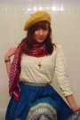 Blue-handmade-skirt-brown-nine-west-boots-yellow-h-m-shirt-red-target-scar