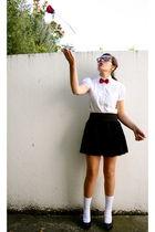 red tie - white blouse - black Forever21 skirt - black shoes