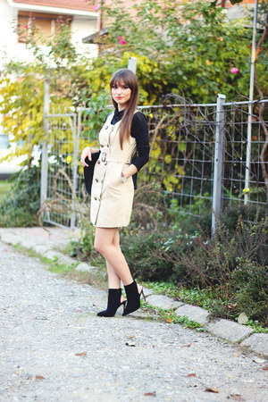 black Zara boots - cream trench OASAP dress - romwe blouse