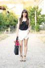 Black-romwe-bag-white-asymmetrical-oasap-shorts-black-chiffon-oasap-top
