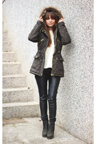 army green romwe boots - army green Blue Vanilla coat - white OASAP sweater