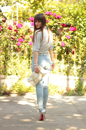 silver silver Jojo  cat heels - light blue denim OASAP jeans