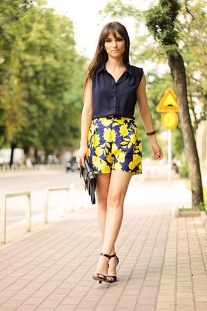 romwe shirt - chicnova bag - yellow LilyLulu shorts - Daniel Wellington watch