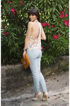 white inlovewithfashion top - light blue denim OASAP jeans - cream dressv heels