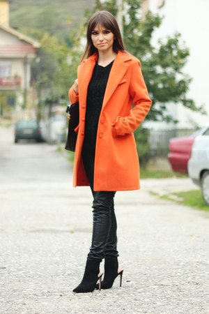 carrot orange orange romwe coat