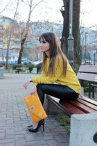 yellow romwe sweater - black faux leather romwe pants