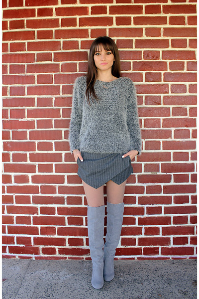 silver dressvenus boots - silver romwe sweater - heather gray OASAP shorts