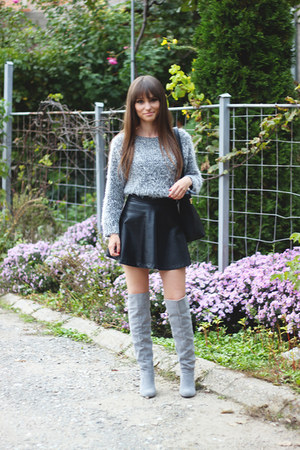 periwinkle mohair romwe sweater - Dressve boots - OASAP bag