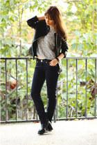 black OASAP boots - Levis jeans - faux leather Quiz Clothing jacket