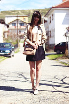 eggshell OASAP coat - beige Rosegal dress - cream Guess bag