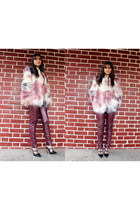 faux fur romwe coat - faux leather Chicwish leggings - Mart of China heels