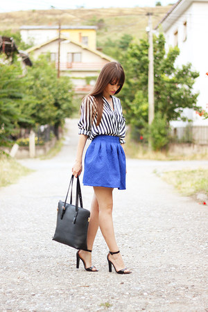 blue cobalt PERSUNMALL skirt - white stripes romwe shirt - black OASAP bag