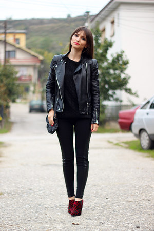 black romwe sweater - ruby red asos boots - black Mart of China jacket