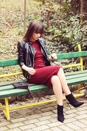 black Zara boots - brick red Poppy Lux dress - black Modlily jacket