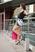 hot pink LYDC LONDON bag - white cow print PERSUNMALL shorts - black OASAP top