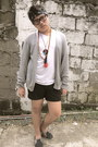 Dark-gray-forever-21-shorts-heather-gray-topman-cardigan