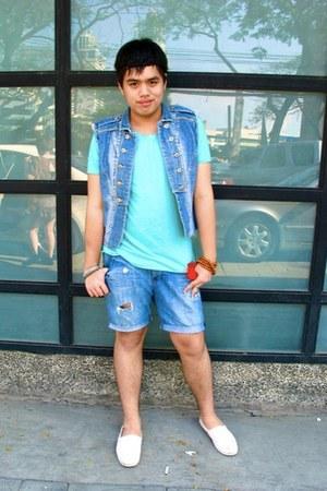 canvas TOMS shoes - aquamarine raw edge Topman shirt - denim diy Armani Exchange