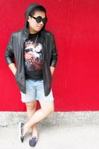 black leather Forever 21 jacket - denim LEI shorts - black tour Miley Cyrus t-sh
