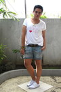 Denim-forever-21-shorts-white-vans-sneakers-white-lucy-hale-bench-t-shirt