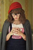 red red beanie Tofus Ulzzang Shoppe hat