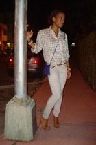 Betsey Johnson shoes - grey Hemlmut Lang jeans - H&M bag - thrifted vintage blou