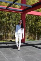white jean Zara jeans - stripes Anne Klein shirt