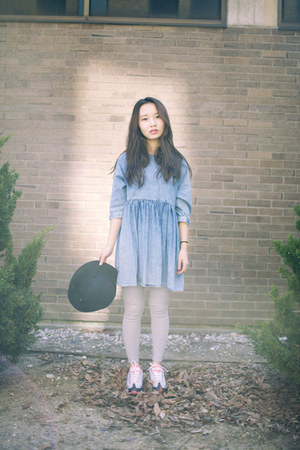 sneakers nike shoes - denim dress asos dress - fedora VeryHoney hat