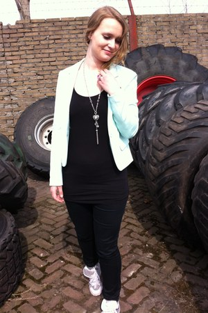 light blue blazer - black top - black pants - hot pink ring - silver necklace