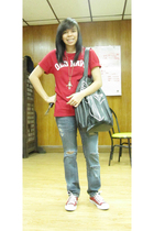 red Old Navy shirt - blue DIY jeans - red Converse shoes - gold vintage necklace