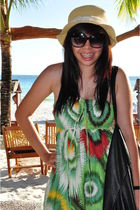 beige hat - green dress - black sunglasses