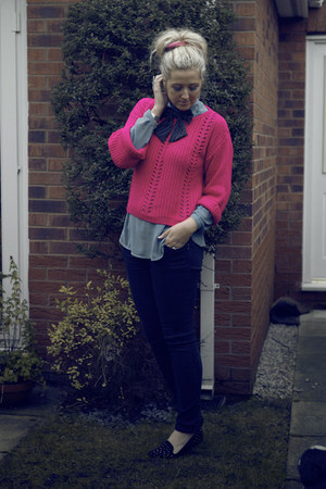hot pink Primark jumper - black Primark jeans - sky blue Primark blouse