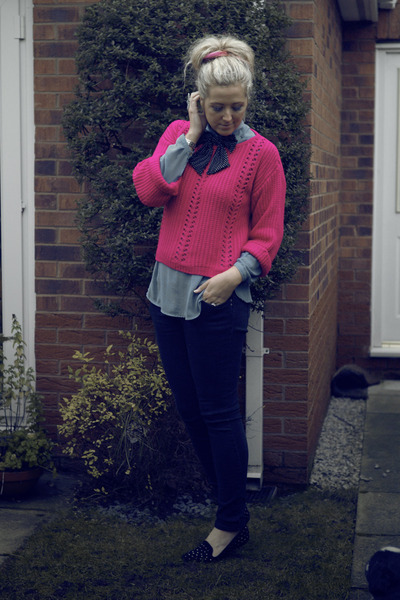 hot pink Primark jumper - black Primark jeans - sky blue Primark blouse