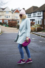Light-blue-pastel-blue-oasap-coat-maroon-clutch-dune-bag