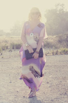 light purple kaftan River Island dress - black clutch Primark bag