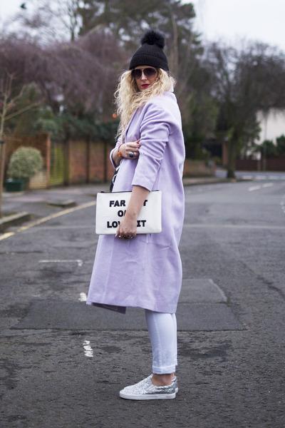 24cf41a024f light purple asos coat - white F F jeans - black fur bobble hat River  Island hat