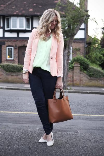 coral Zara blazer - navy Primark jeans - tan Ebay bag - chartreuse H&M blouse
