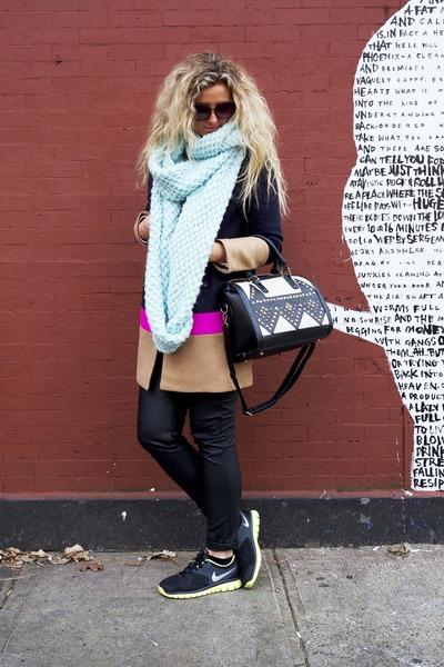 navy color block Gap coat - aquamarine Old Navy scarf