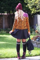 black skater skirt new look skirt - brick red Primark boots