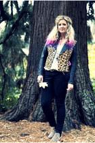 brown leopard print Topshop boots - black Primark jeans - black asos jacket